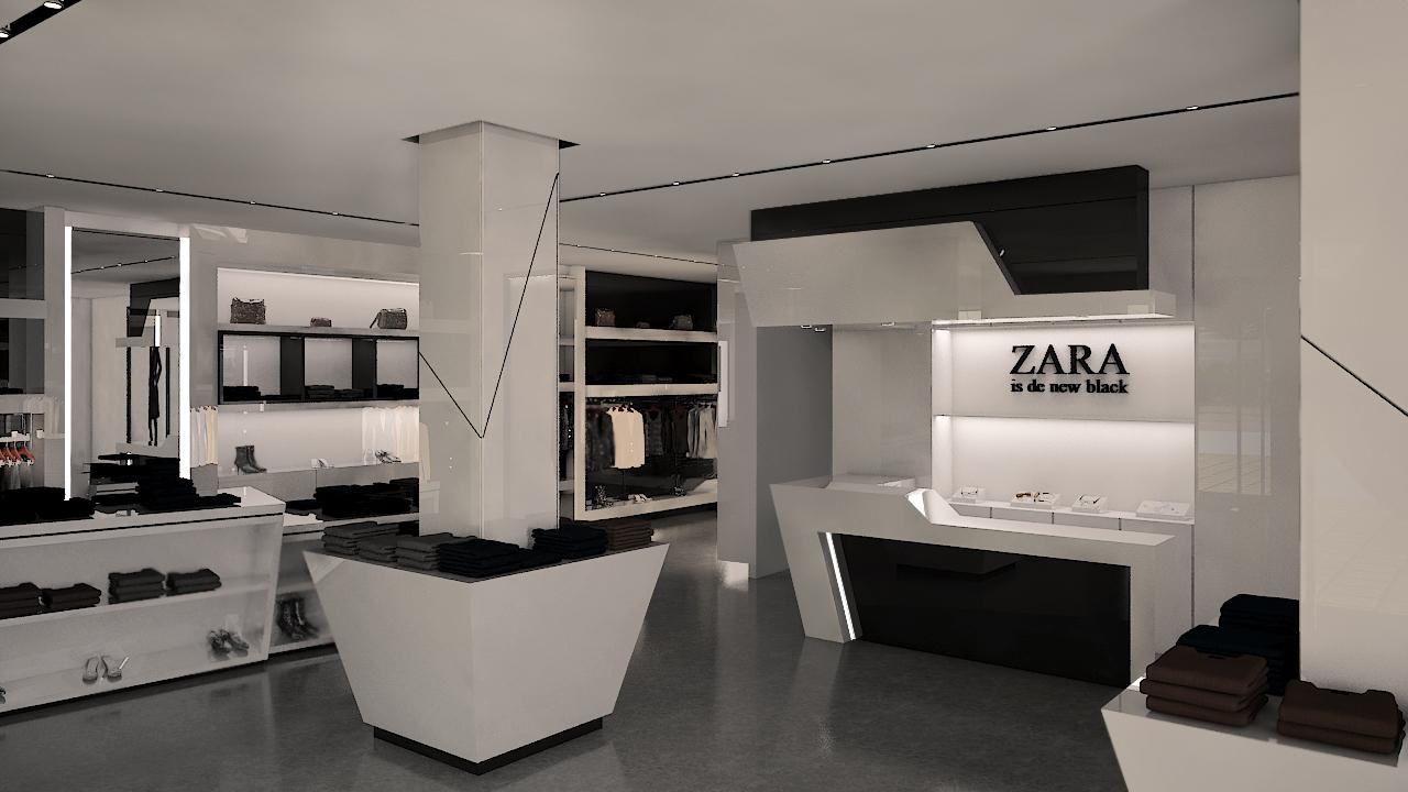 Nueva propuesta en blanco y negro para tienda de ropa for Decoracion de interiores locales de ropa